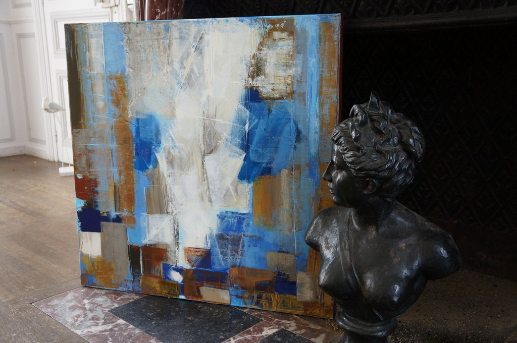 Painting OCTOBER bronze bust marble fireplace Manor XVIII