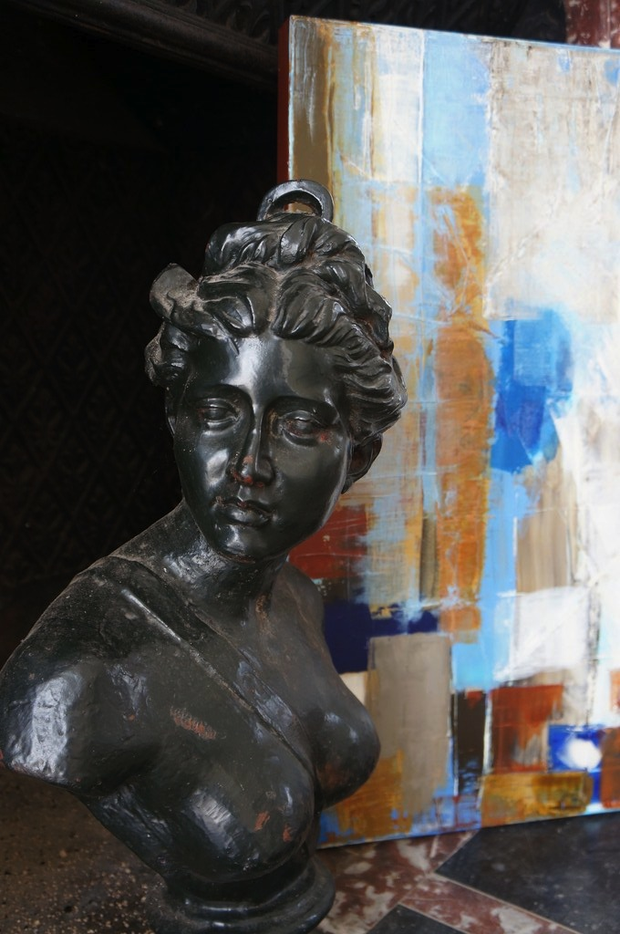 Painting OCTOBER bronze bust Manor XVIII
