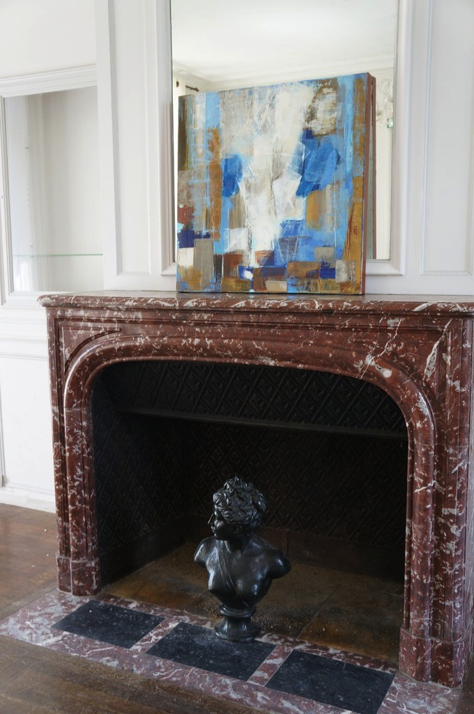 painting OCTOBER marble fireplace Manor XVIII