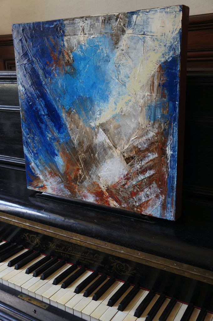 OCTOBER painting, upright piano, castle 18th century