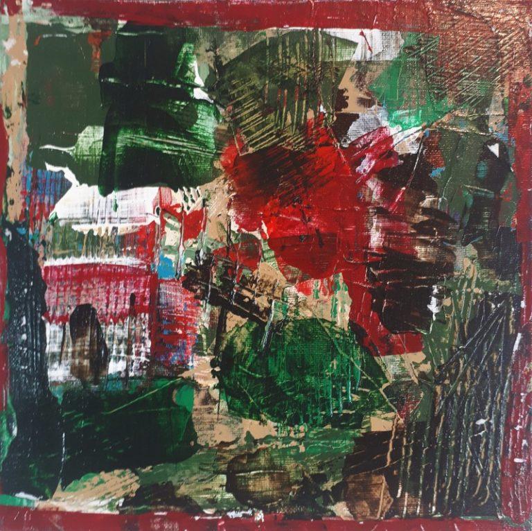CARTE N°9 - Acrylique sur carte entoilée 20 x 20 cm - 2017